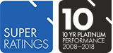 SuperRatings 10 year Platinum rating